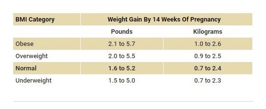 Weight gain range by week 14 of pregnancy based on BMI